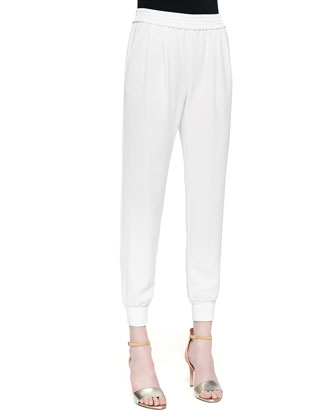 Mariner Cropped Pull-On Pants, Porcelain