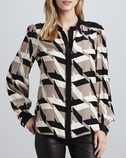 Alice & Trixie Stevie Houndstooth-Print Blouse