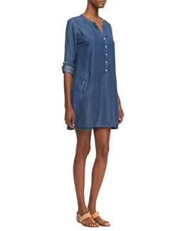 Soft Joie Eguine Coated-Denim Shirtdress