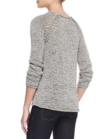 Duran Open-Knit-Shoulder Sweater