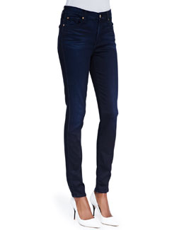 7 For All Mankind High-Waist Skinny Jeans, Blue Black Sateen