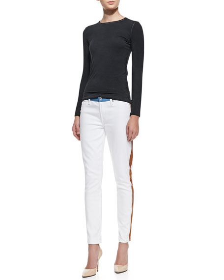 Colorblock Skinny Ankle Jeans, White/Blue/Cognac