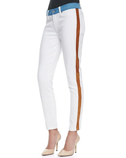 7 For All Mankind Colorblock Skinny Ankle Jeans, White/Blue/Cognac