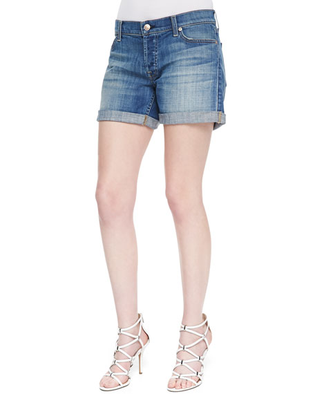Slouchy Distressed Rollup Shorts, Bright Light Broken Twill