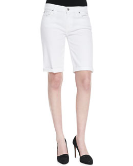 7 For All Mankind Cuffed Bermuda Shorts, Clean White
