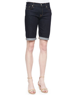 7 For All Mankind Rolled-Cuff Bermuda Shorts, Ink Rinse