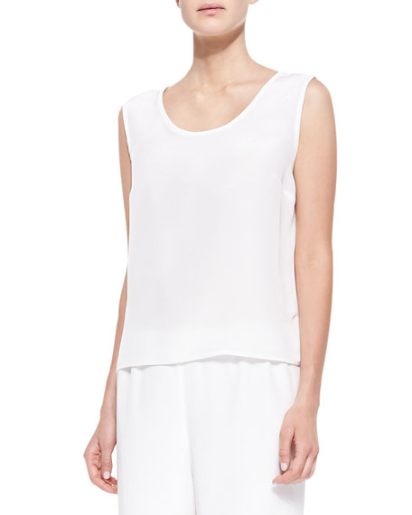 Silk Crepe Tank, Soft White