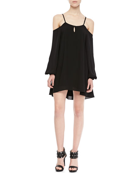 Irreplaceable Cold-Shoulder Trapeze Dress