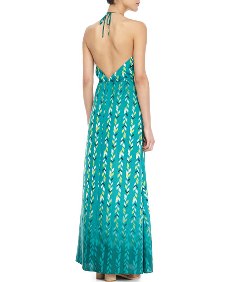 Chevron-Print Halter Maxi Dress