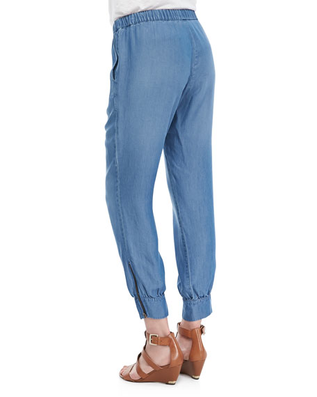 Chambray Drawstring Easy Pants