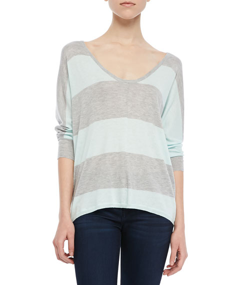 3/4-Sleeve Striped Sweater