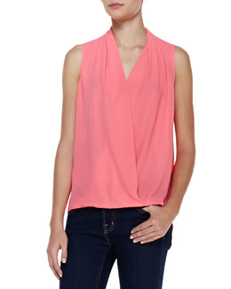 Cusp by Neiman Marcus Sleeveless Crossover High-Low Top