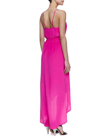High-Low Maxi Dress, Bright Hot Pink