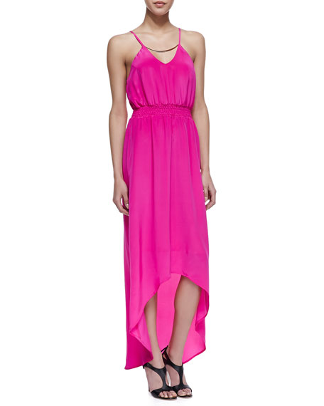 High-Low Maxi Dress, Bright Hot Pink
