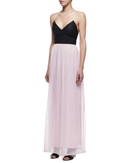 Cusp by Neiman Marcus Athena Maxi Dress, Black/Pale Pink