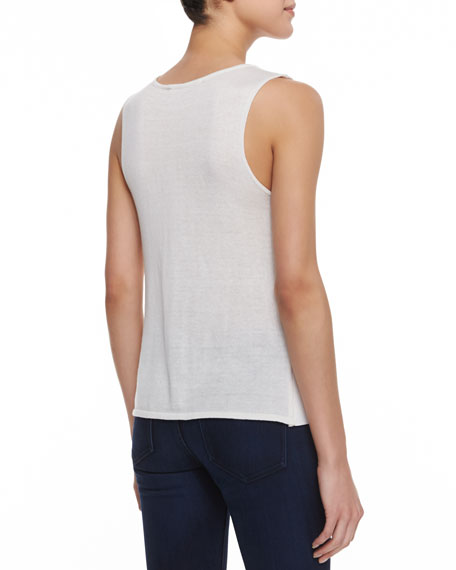 Roselle Sleeveless Leather-Front Top
