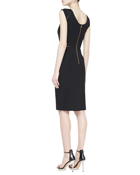 Penelope Sheath Dress with Leather Piping