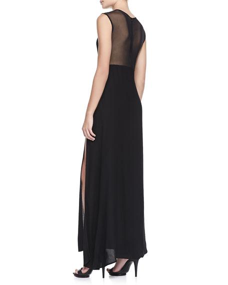Lulu Mesh-Panel Maxi Dress