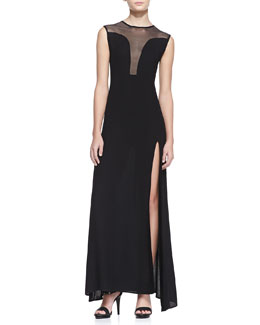 For Love & Lemons Lulu Mesh-Panel Maxi Dress