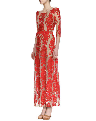 For Love & Lemons San Marcos Open-Back Lace Maxi Dress