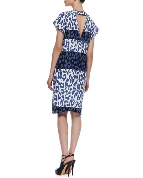 Crisscross-Back Cap-Sleeve Dress