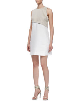 10 Crosby Derek Lam Bi-Color Linen Layered Dress