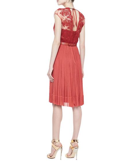 Paige Lace Belted Chiffon Dress