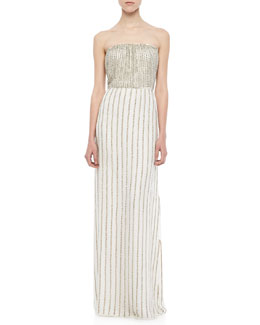 Parker Lovey Beaded Strapless Maxi Dress
