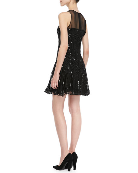 Sophia Sequined Mesh-Panel Dress