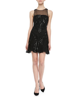 Parker Sophia Sequined Mesh-Panel Dress