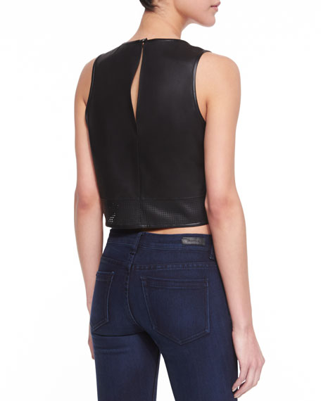 Leather Perforated-Edge Crop Top