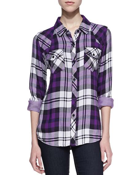 Rails kendra plaid button down purple for Purple plaid button up shirt