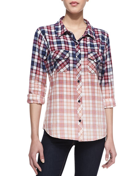 Gia Ombre Plaid Flannel Button-Down Shirt