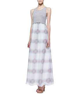 Splendid Beach Glass Plaid Maxi Dress