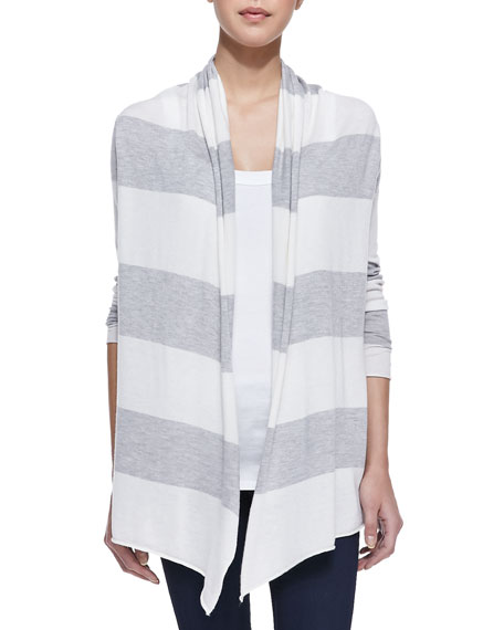 Striped Open Draped Cardigan, Gray