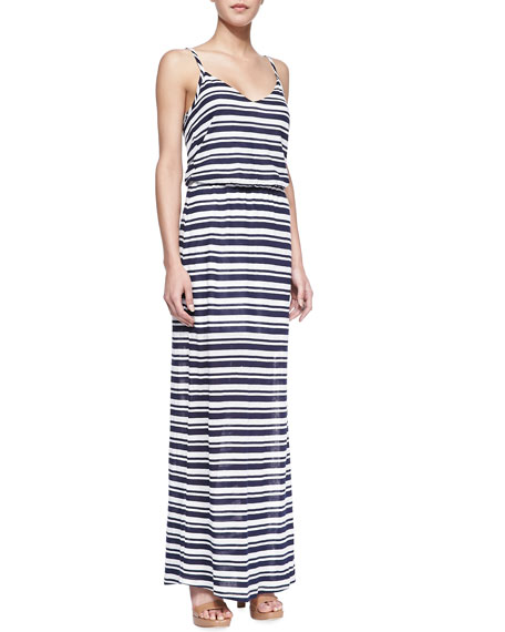 Marina Striped Eyelet Maxi Dress