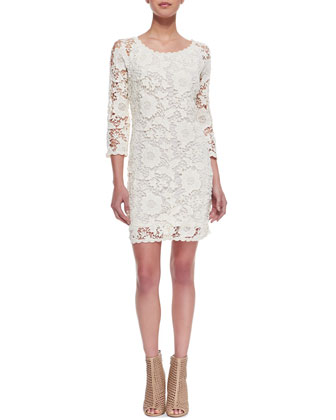 Crochet Lace 3/4-Sleeve Dress