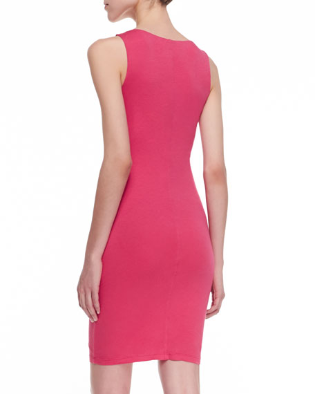 Ruched-Front V-Neck Dress