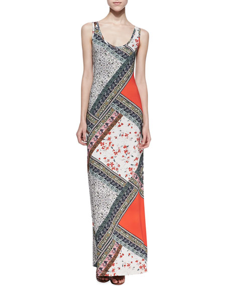 Scarf-Print Tank Maxi Dress