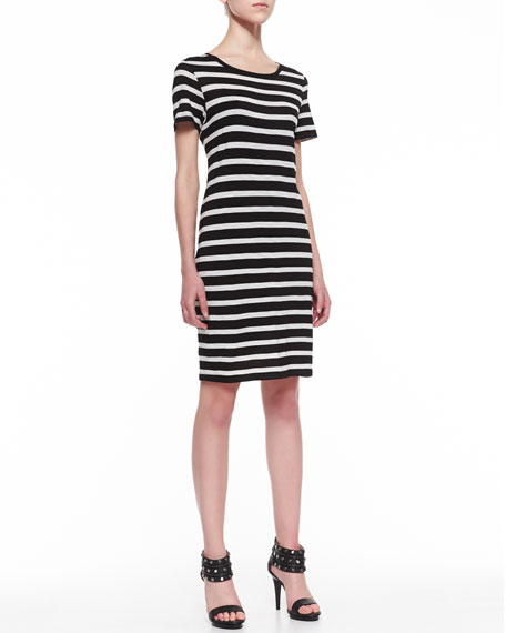 Striped Slub-Knit Dress