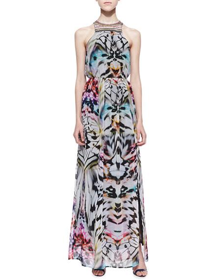Charlie Jade Ava Beaded-Neck Halter Maxi Dress