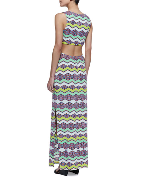 Cutaway Patterned Maxi Dress