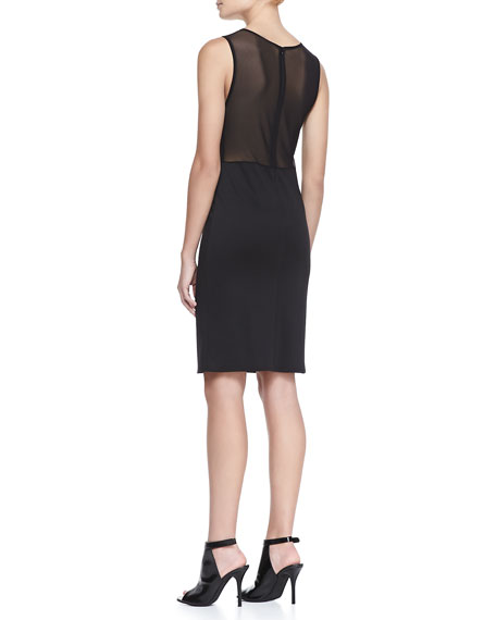Lulu Mesh-Panel Pencil Dress