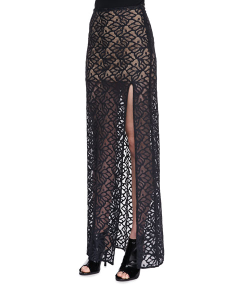 Front-Slit Lace Maxi Skirt