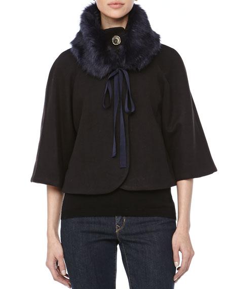Nadja Removable Fur Collar Cape