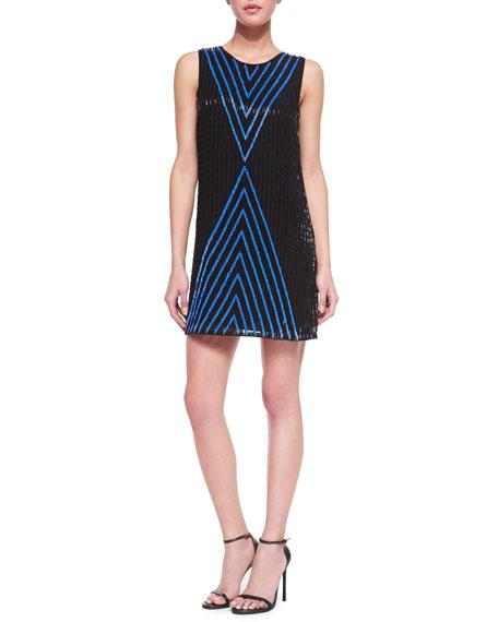 Alexa Beaded Silk Shift Dress