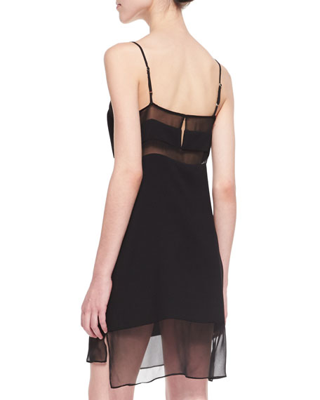 Sheer Inset Crepe Dress