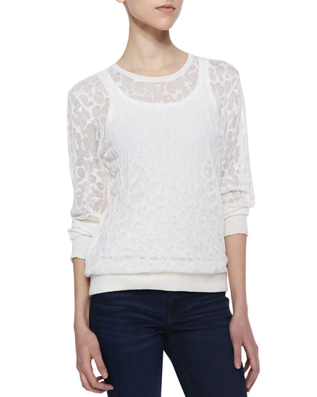 Louisa Sheer Leopard Burnout Sweater, White