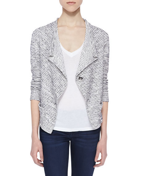 Lori Striped Boucle Cardigan, Blue