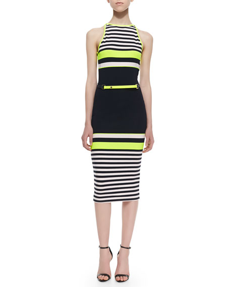 Abiee Sleeveless Halter Neon-Stripe Stretch-Knit Dress, Navy
